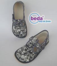 Beda barefoot - bačkorky suchý zip - šedé s nápisy