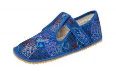 Beda barefoot - bačkorky suchý zip - modré s nápisy